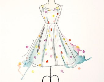 Watercolor and Ink Painting, 'Polka dot Dress' Art Print of original watercolor and Ink illustration