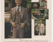 1977 Johnny Carson Apparel Advertisement Celebrity Designer Leisure Suits 70s Mens Fashion Tonight Show Wall Art Decor