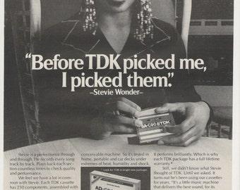 1980 Stevie Wonder For Tdk Cassette Tapes Advertisement