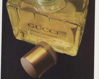 1980 Advertisement Gucci 8x11 pour homme Elegance Bottle Designer 80s Mens Fragrance Scent Cologne Wall Art Decor