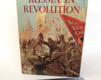 Large Tablet Case Made from History Book about Russian Revolution, Red Lining Inside, Fits Kindle FIre HDX 8.9, Nook HD Plus