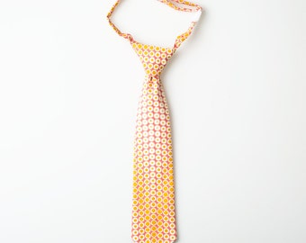 Boys Tie - Pink with Gold Dots - Toddler Necktie