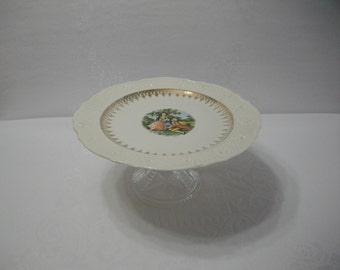 Cake Plate Stand / Vintage Vogue Dinnerware Washington Colonial Pattern Cake Plate / Cupcake Stand / Pedestal Dish / Wedding Decor