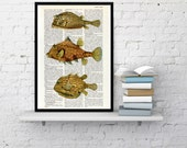 Yellow Tropical fishes Dictionary art Print - Sealife print, Wall Print, Bathroom decor, Beach house decor, yellow Fishes art print BPSL019