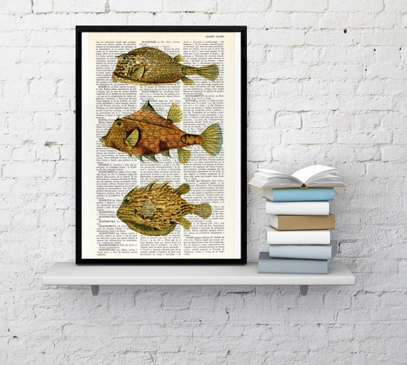 Summer Sale Yellow Tropical fishes Dictionary art Print - Sealife print Bathroom decor, Beach house decor, yellow Fishes art print SEA019