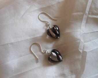 Lampwork Glass Heart, Foil, Sterling Silver