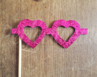 Hot Pink Heart Glasses | Rock Star Party Glasses | Pink Heart Glasses | Pop Star Party