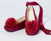 Wine Toddler, Little Girl Flower Girl Shoe, Marsala Red Baby Ballet Slipper, Wedding Ballet Flat, Easter, Occasion, Dance shoe, Baby Souls