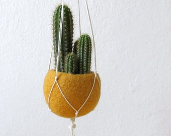 Macrame planter / Hanging planter / Mustard Felt planter / Macrame hanging vase / gift for her / cactus vase / CHOOSE YOUR COLOR