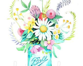 Mason Jar and Flowers Painting -  Watercolor Print