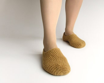 Natural Wool Crocheted Slippers - Winter Home Comfort