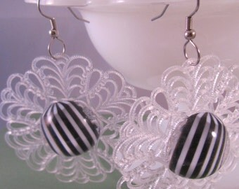 Filigree Dangle Earrings, Black & White Vintage Materials