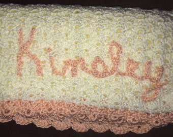 Peach and Cream Crib Sized Blanket Set with heart- Personalization Avaliable