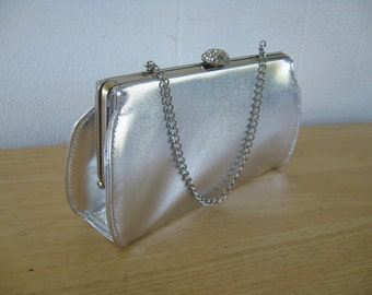1960s Flirty Vintage Silver Evening Bag  / 60s Silver Pleather  Clutch - Rhinestone Clasp - Cute and Flirty, like you