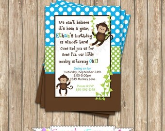 Monkey Birthday Party  PRINTABLE Invitation 5x7 4x6 blue green brown BOY DIY first birthday