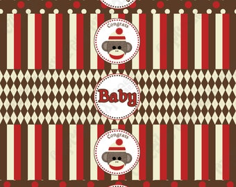 Sock Monkey red brown Printable Baby Shower Water Bottle Labels wraps INSTANT DOWNLOAD diy  - Cupcake Express