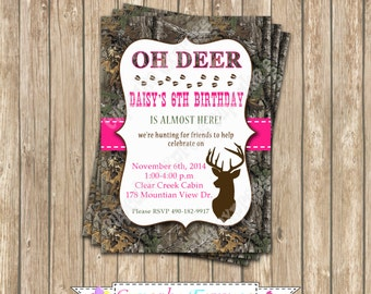 Camo Girl Hunting Birthday Party  PRINTABLE Invitation 5x7  camouflage Hot pink realtree deer hunting -cupcake express