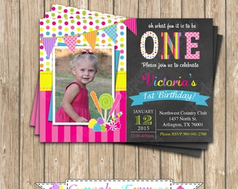 DIY Candy Shoppe #7 Birthday Party  PRINTABLE Invitation  lollipop candy shop candyland chalkboard