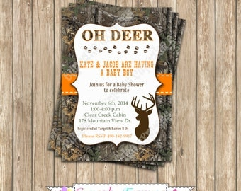 Camo baby Boy deer Hunting Birthday Party  PRINTABLE Invitation 5x7  camouflage orange realtree
