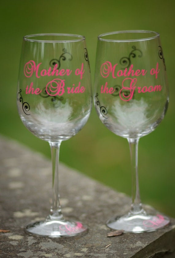 2 Personalized Mother of the Bride and Mother of the Groom gift wine glass.  Your wedding colors, wedding party gift idea