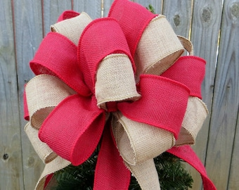 Reserved for lisagroh2 - Burlap Tree Topper - Christmas Tree Topper-Primitive Country Tree Top Bow in Red and Natural Burlap