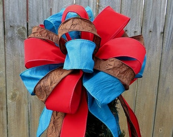 Tree Topper, Red Blue Brown Christmas Tree Decor, Holiday Decoration, Double Sided Tree top Decoration, HornsHandmade