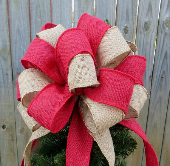 Tan and Red Burlap Tree Topper