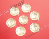 SALE Kawaii Antique Soft Yellow Round Resin Flatback Deco Cabochons, Round Cabochons, Acrylic Cabochon, 14mm (R3-171)