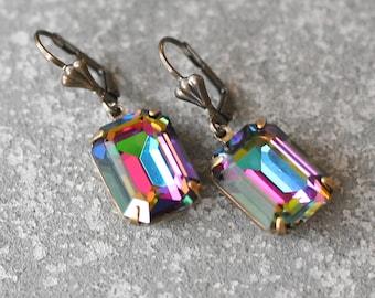 Rainbow Earrings Swarovski Crystal Dark Jewel Tone Rainbow Rectangle Drop Earrings Duchess  Mashugana