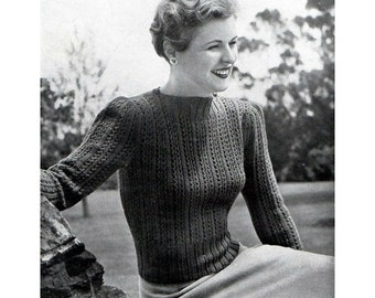 1940s Vintage Knitting Patterns for Women Sweaters, Cardigans and Dress Patons and Baldwins Book No. 145 Original Knitting Booklet