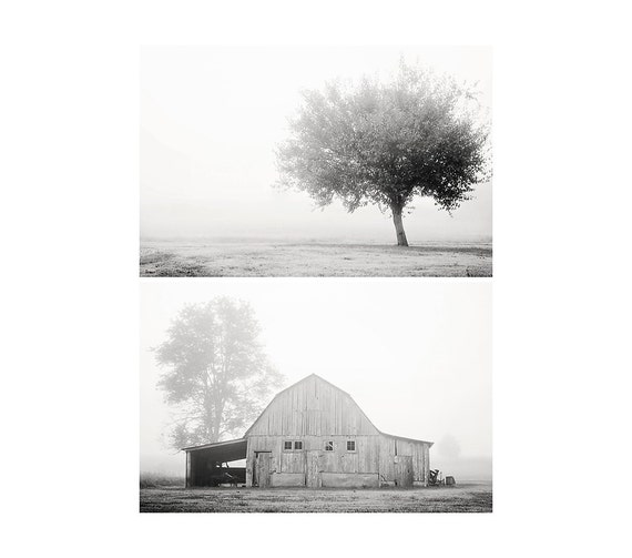 barn photograph tree photograph fog photograph black and white photograph rustic decor midwest photograph barn print tree print