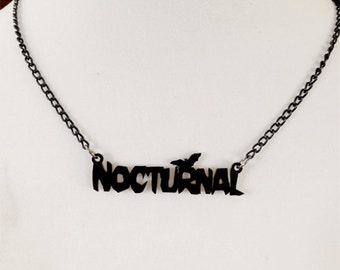 Nocturnal Black Necklace With Bat (laser cut acrylic)