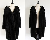 Reserved for Dawanna Luxurious Chocolate Brown Faux Mink Coat, Vintage 50s Fake Mink Coat, Large or Plus, Faux Fur, Made in England