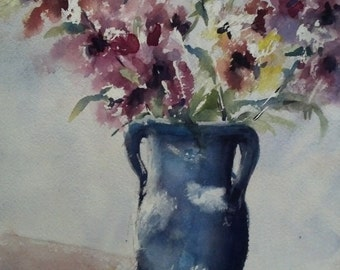 """Still life, floral, astromeria, blue, green, pink , yellow. Blue Vase and Astromeria- Original Watercolor Painting 12"""" x 9""""."""