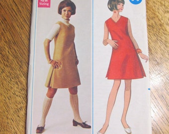 1960s MOD A Line Dress or Jumper with UNIQUE Princess Seaming - Size 14 - UNCUT Vintage Sewing Pattern Butterick 4719
