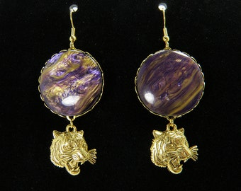 LSU Tiger Earrings - Roaring Tiger Charms, Purple and Gold Swirled Cabochons, Gold Tiger Jewelry, Handmade OOAK Earrings