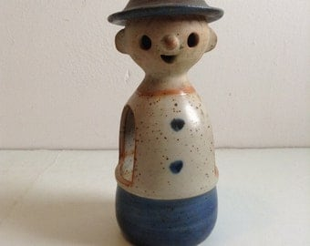 Pottery Male Candle Holder Figure. Vintage 1960.  Danish Modern style.  Made in Japan.  Lisa Larson style.