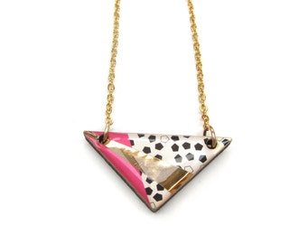 SALE Pink and Gold Triangle Geometric wood necklace.  20% off with code VALENTINEBEAR16