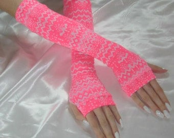 Arm warmers fingerless gloves armwarmers - Aurora - Bright pink white aztec tribal cyber raver EDC burning man lolita feminine belly dance