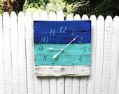 "Beautiful BLUES. Pallet Wood Clock..  Beach House Decor. Large 26"" by 26"" Wall Clock. CUSTOM Colors. Ocean. Made to Order.. Coastal"