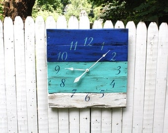 "Beautiful BLUES. Pallet Wood Clock..  Beach House Decor. Large 26"" by 26"" Wall Clock. CUSTOM Colors. Ocean. Made to Order.. Coastal"
