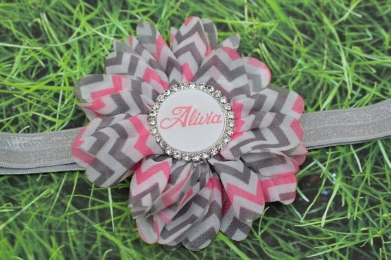 Personalized Baby Gifts, Baby Headband, Pink Baby Headband, Baby Shower Gift, Gray Baby Headband, Silver Baby Bow, Chevron Bow