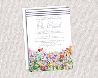 Watercolor Floral & Stripe Invitation