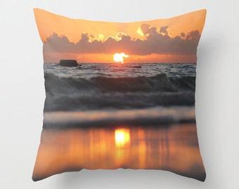 Beach Cottage Decor, Ocean Pillow Cover, Nautical Sunrise, Orange Blue