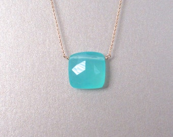 Chalcedony Square Pendant Necklace