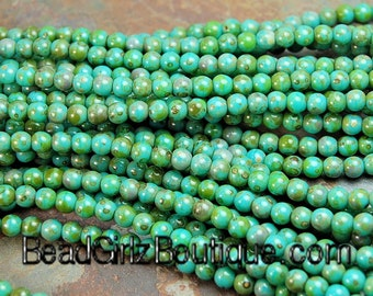 Opaque Turquoise Picasso 4mm round beads   - 100 Czech Beads