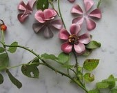 4 Large Shabby Chic Vintage Metal Flowers