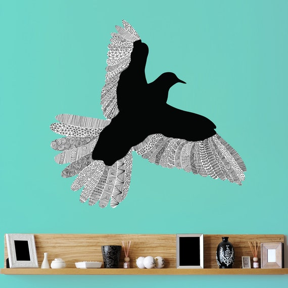 flying bird wall sticker decal by florent bodart by