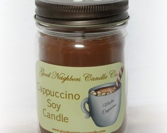 Soy Candle, 12 ounce Cappuccino, Brown, Cotton Wick, Hemp Wick, Wood Wick, Daisy Cut Lid