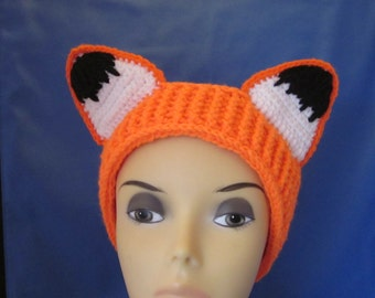 Crochet Headband Ear Warmer Turban Head Warmer, Animal Ear Warmers, Fox Headband, Women accessories, Animal Headband.